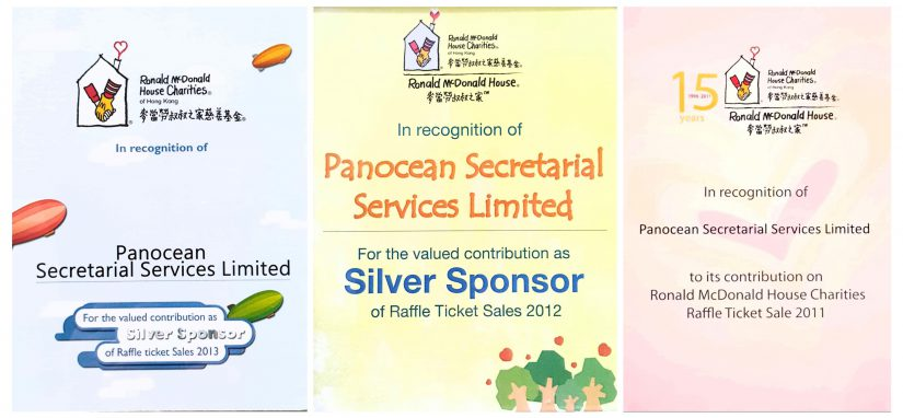 Sponsorship of the Raffle Ticket Sales for Ronald McDonald House Charities Hong Kong 2011, 2012 & 2013